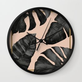 Classic Tropical Palm Leaves Powder Pink and Gold Wall Clock