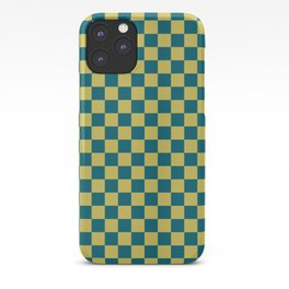Dark Yellow and Tropical Dark Teal Inspired by Sherwin Williams 2020 Trending Color Oceanside SW6496 Small Checker Board Pattern iPhone Case