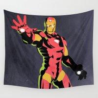 iron man Wall Tapestries featuring iron man  by mark ashkenazi