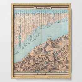 Chart of the World's Mountains and Rivers - Geographicus Serving Tray