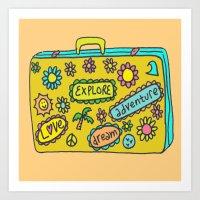 Let's Travel Retro Suitecase Art Print