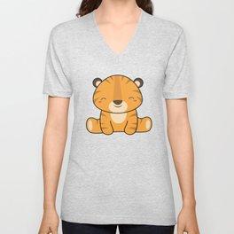 Kawaii Cute Baby Tiger Unisex V-Neck
