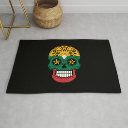 Sugar Skull with Roses and Flag of Lithuania Rug