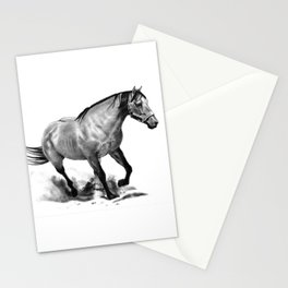 Horse Running, Pencil Drawing, Equine Art Stationery Cards