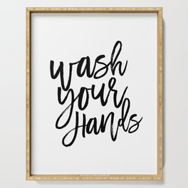 WASH YOUR HANDS, Bathroom Decor,Bathroom Signs, Quote Prints,Kids Gift,Bathroom Rule,Typography Prin Serving Tray