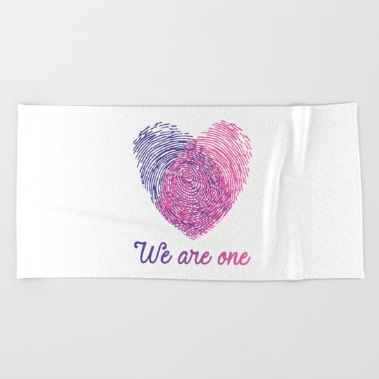We are one - Valentine love Beach Towel