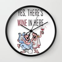 wine Wall Clocks featuring Wine by Artysmedia
