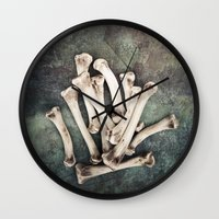 bones Wall Clocks featuring Bones by Maria Heyens