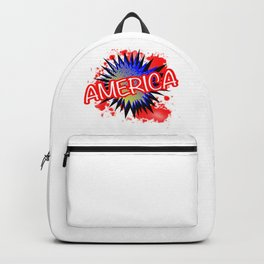 America Red White And Blue Cartoon Exclamation Backpack