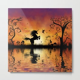 Wonderful unicorn with fairy in the sunset Metal Print
