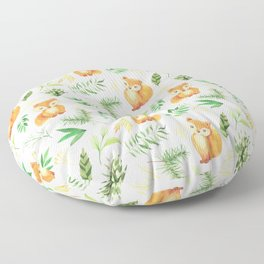 Hand painted cute brown fox watercolor green floral leaves Floor Pillow