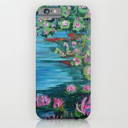 Lily Pond, Impressionism Painting, Pond Flowers iPhone Case