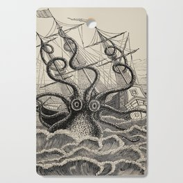 """The octopus; or, The """"Devil-fish"""" - Henry Lee - 1875 Giant Octopus Sinking Ship Cutting Board"""