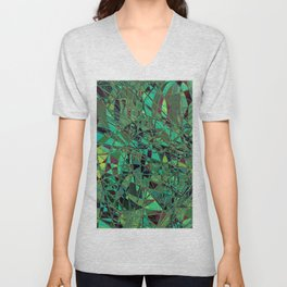 Lime Abstract Mosaic Unisex V-Neck
