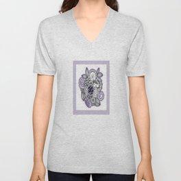 Pretty in Purple Zentangle Design Illustration Unisex V-Neck