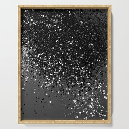 Dark Gray Black Lady Glitter #1 #shiny #decor #art #society6 Serving Tray