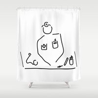 medicine Shower Curtains featuring doctor with medicine utensils by Lineamentum
