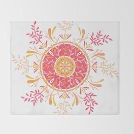 Leaf Mandala – Peachy Pink Palette Throw Blanket