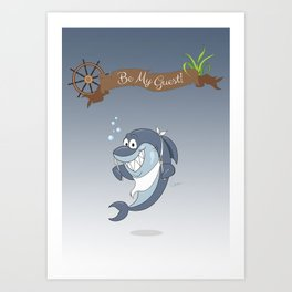 Cartoon Shark Art Print