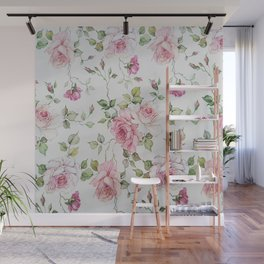 Shabby vintage blush pink white floral Wall Mural