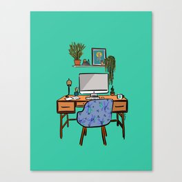 Ideal Workspace | Green Canvas Print
