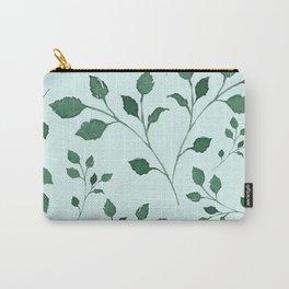 Light Cyan Soft Mint Green Leaves Greenery Pattern Modern Décor Carry-All Pouch