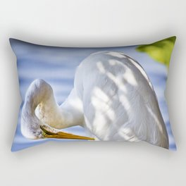 Great Egret Grooming Rectangular Pillow