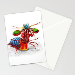 Peacock mantis shrimp in attack pose art print Stationery Cards