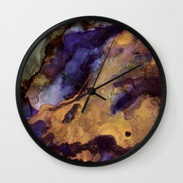 Purple and Gold Abstract Wall Clock