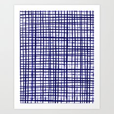 Grid indigo blue bold dramatic modern minimal abstract painting lines gridded pattern print minimal Art Print