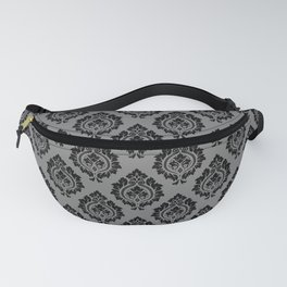 Decorative Damask Pattern Black on Gray Fanny Pack