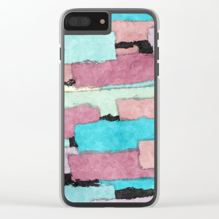 Colorful Patches Clear iPhone Case