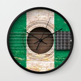 Old Vintage Acoustic Guitar with Nigerian Flag Wall Clock
