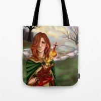 dark souls Tote Bags featuring Dark Souls 2  - Emerald Herald by Vivid-K