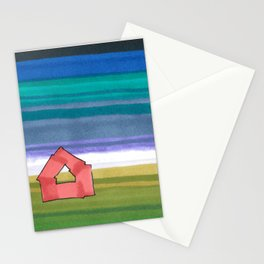 American Farm Landscape Blue Stripes 82 Stationery Cards