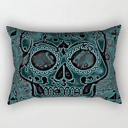Skull, aqua Rectangular Pillow