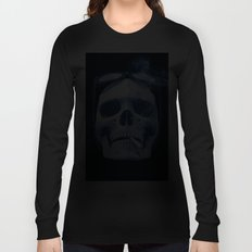 Skull Smoking Cigarette Blue Long Sleeve T-shirt