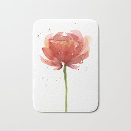 Red Flower Watercolor Floral Painting Bath Mat