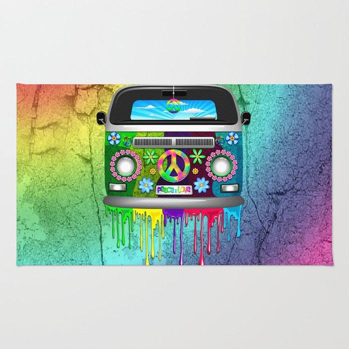 Hippie Bus Van Dripping Rainbow Paint Rug