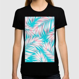 Palm Tree Fronds Hot Pink on Turquoise Hawaii Tropical Décor T-shirt