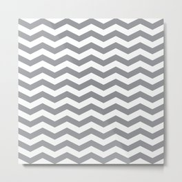 Grey Chevron Pattern Metal Print