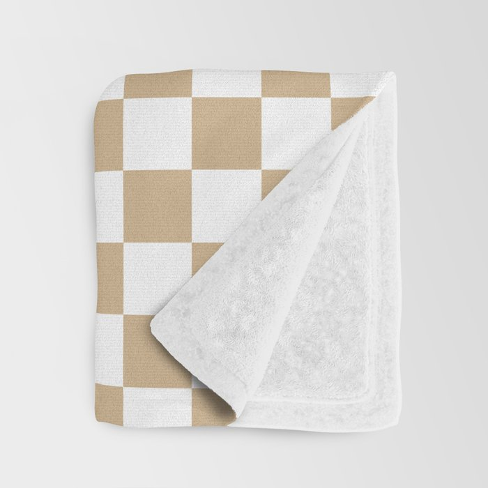 Small Checkered - White and Tan Brown Throw Blanket