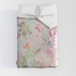 Vintage botanical blush pink mint green floral pattern Duvet Cover