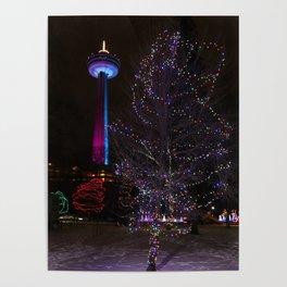 Skylon Tower with Christmas Lights Poster
