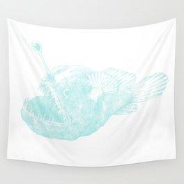 Black seadevil - blue Wall Tapestry