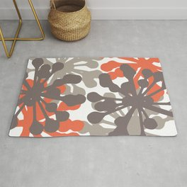 Modern Botanical Print Coral Brown Rug