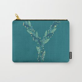 turquoise flower alphabet Y Carry-All Pouch