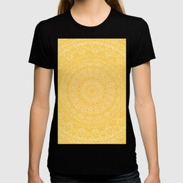 The Most Detailed Intricate Mandala (Mustard Yellow) Maze Zentangle Hand Drawn Popular Trending T-shirt