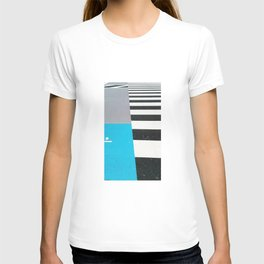 Blue Crossing Graphic Illustration of an Urban Street Photography in Japan T-shirt