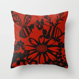 You're the Bees Knees- Black Throw Pillow